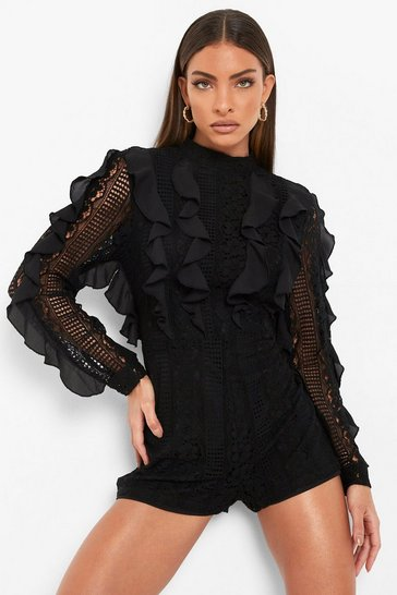 Black Lace Frill High Neck Playsuit