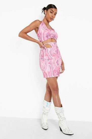 Multi Printed Thong Detail Mini Skirt Co-ord