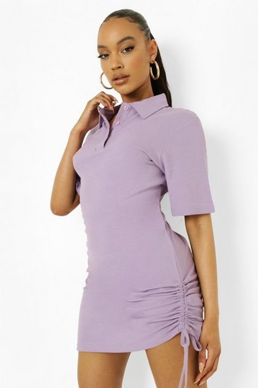 Lilac purple Ruched Side Polo T Shirt Dress
