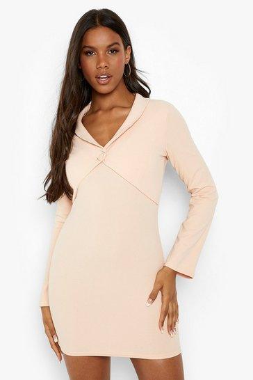 Nude Double Layered Long Sleeve Blazer Dress