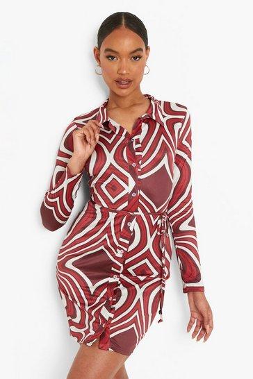 Red Marble Slinky Long Sleeve Shirt Dress