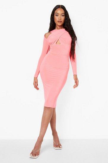 Neon-pink pink Neon Slinky Wrap Cut Out Midi Dress