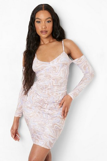 Lilac purple Marble Slinky Cold Shoulder Ruched Mini Dress
