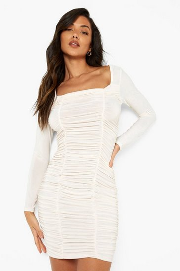 Nude Slinky Square Neck Ruched Mini Dress