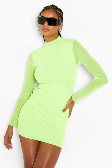 Neon-lime neon Neon Mesh Mini Dress With Thumb Hole