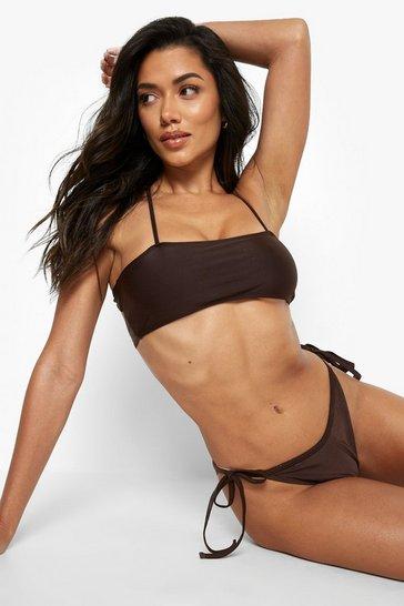 Chocolate brown Square Neck Strappy Bikini Top