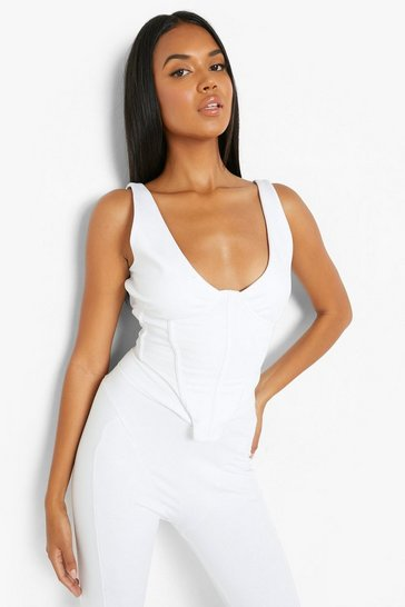White Jersey Corset Top