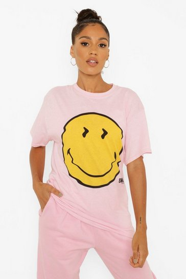 Pink Smiley License Print Oversized T-Shirt