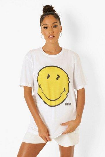 White Smiley License Print Oversized T-Shirt