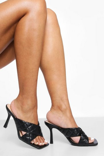Black Quilted Cross Strap Mule