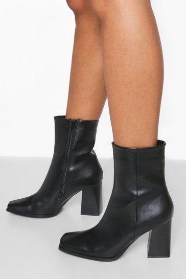Black Pu Heeled Sock Boot