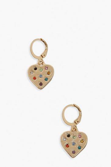 Gold metallic Heart Rainbow Stone Hoop Earrings
