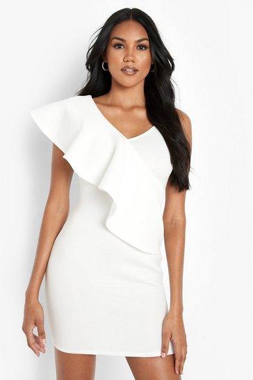 White Frill Shoulder Bodycon Mini Dress