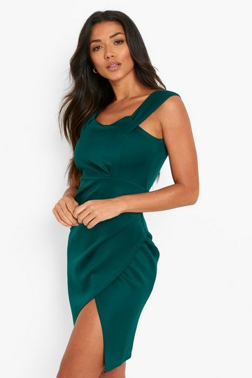Forest green Scuba Bardot Wrap Midi Dress