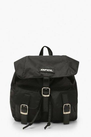 Black Ofcl Nylon Multi Pocket  Backpack