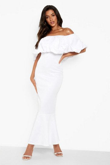White Scuba Ruffle Bardot Maxi Dress