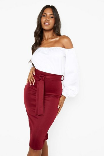 Wine red Scuba Bardot Colour Block Midi Dress