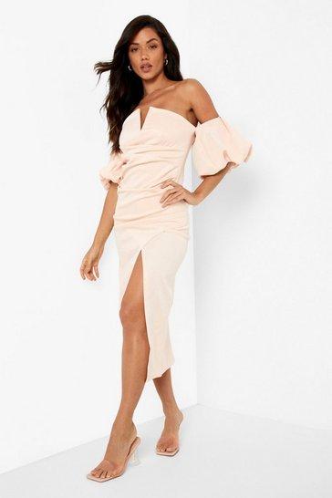 Nude Scuba Puff Sleeve Midaxi Dress