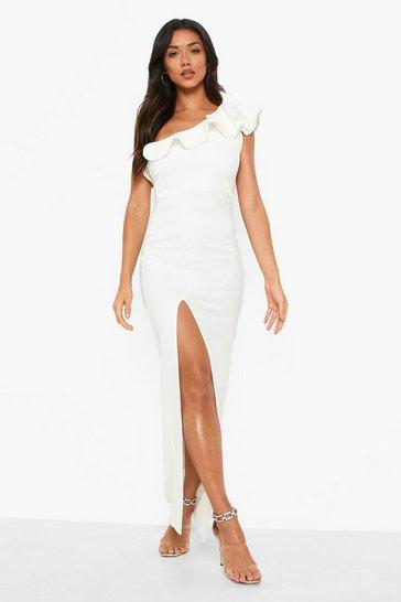 White Frill Detail Split Front Maxi Dress