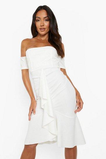 White Frill Detail Bardot Midi Dress