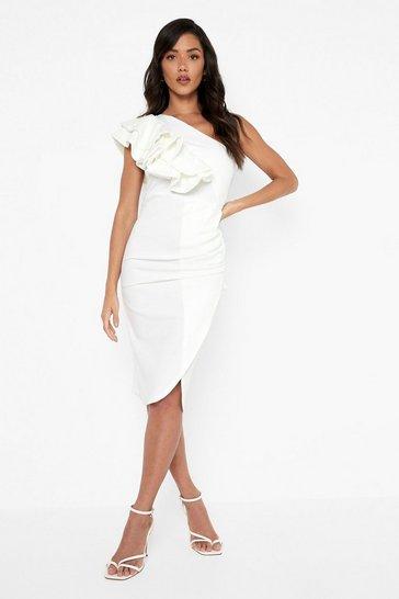 White Frill Shoulder Midi Dress