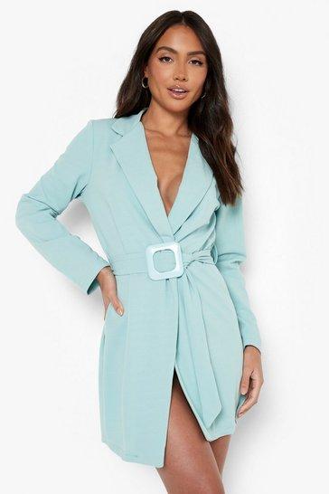 Mint green Buckle Detail Wrap Blazer Dress