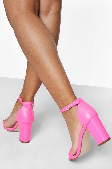 Neon-pink pink 2 Part Block Heel Sandal