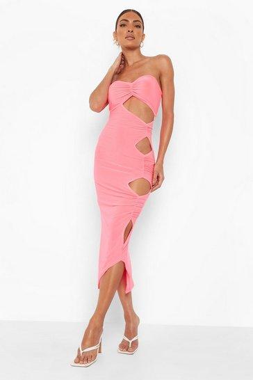Neon-pink pink Cut Out Detail Bodycon Midmaxi Dress