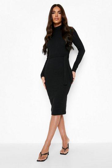 Black Premium Rib High Neck Belted Midi Dress