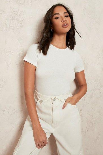 Ecru white Short Sleeve Bodysuit
