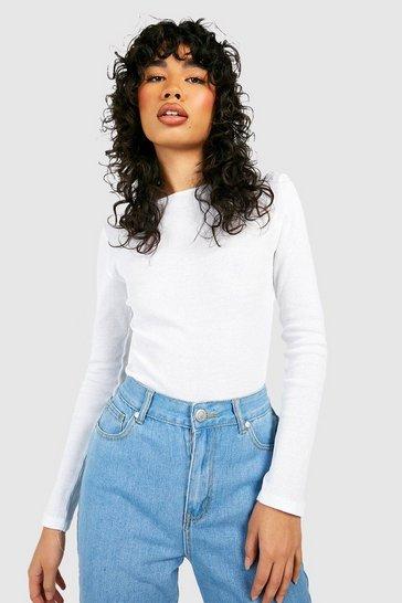 White Rib Long Sleeve Bodysuit