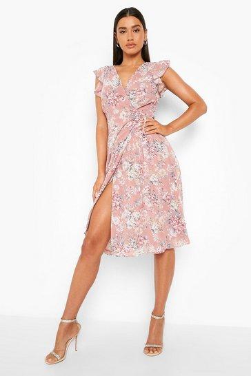 Blush pink Floral Ruffle Skater Midi Bridesmaid Dress
