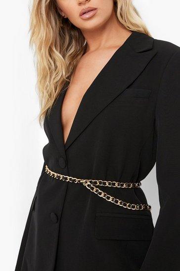 Black Faux Leather Weave Chain Detail Belt