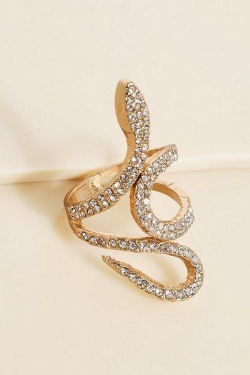 Gold metallic Recycled Diamante Statement Ring