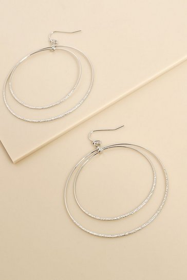 Silver Recycled Simple Double Circle Earrings