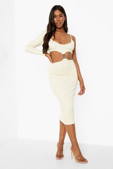 Stone beige Premium Rib Buckle Detail Midaxi Dress