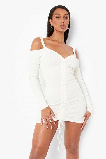 White Premium Rib Cold Shoulder Rouched Mini Dress