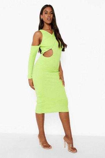 Lime green Premium Rib Cut Out Asymetric Midaxi Dress