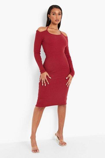 Wine red Premium Rib Cold Shoulder Halterneck Midi Dress