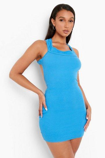 Blue Premium Rib Cut Out Back Bardot Mini Dress