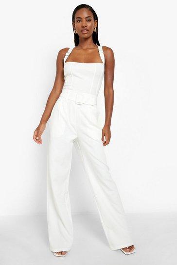 Ivory white Self Belt Pleat Detail Straight Leg Trouser