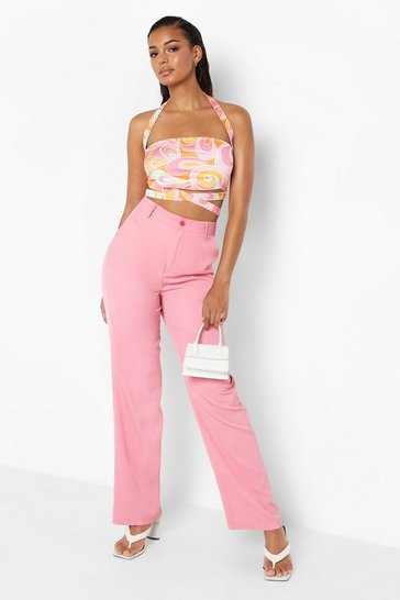 Pink Clean Cut Straight Leg Woven Trouser