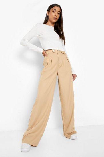 Stone beige Woven Pocket Detail Wide Leg Trouser
