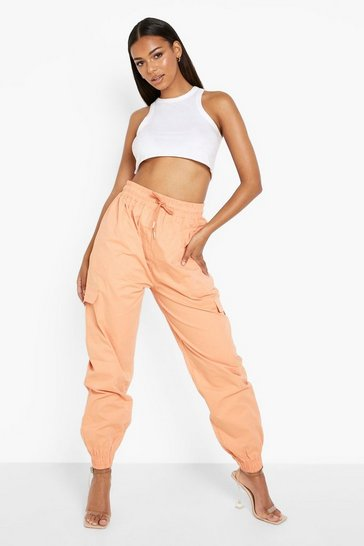 Apricot nude Woven Pocket Utility Cargo Trousers