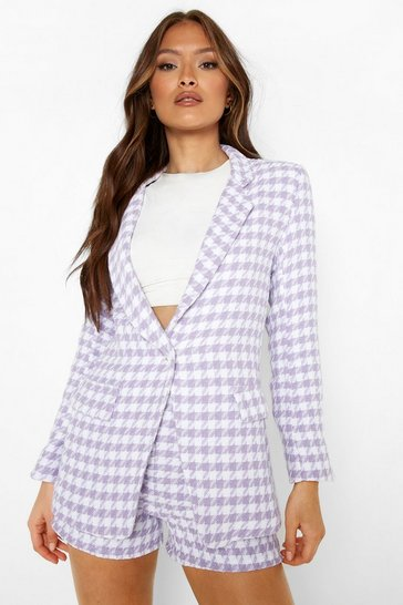 Lilac purple Boucle Dogtooth Fitted Blazer