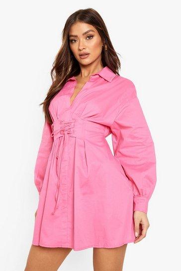 Pink Corset Detail Volume Sleeve Shirt Dress