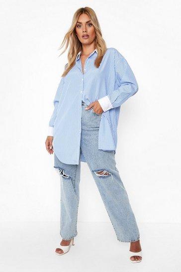 Blue Plus Curved Hem Extreme Oversized Shirt
