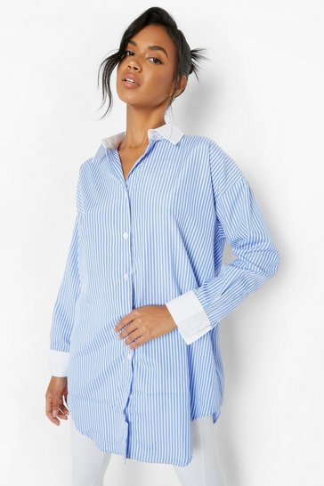 Blue Curved Hem Extreme Oversized Shirt