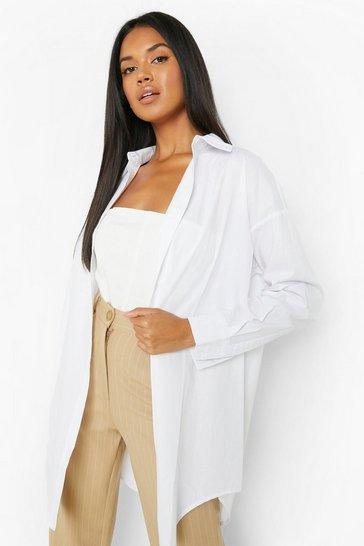 White Curved Hem Extreme Oversized Shirt