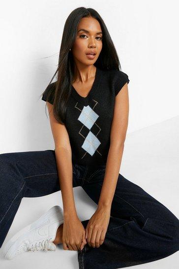 Black Boxy Crop Knit Vest